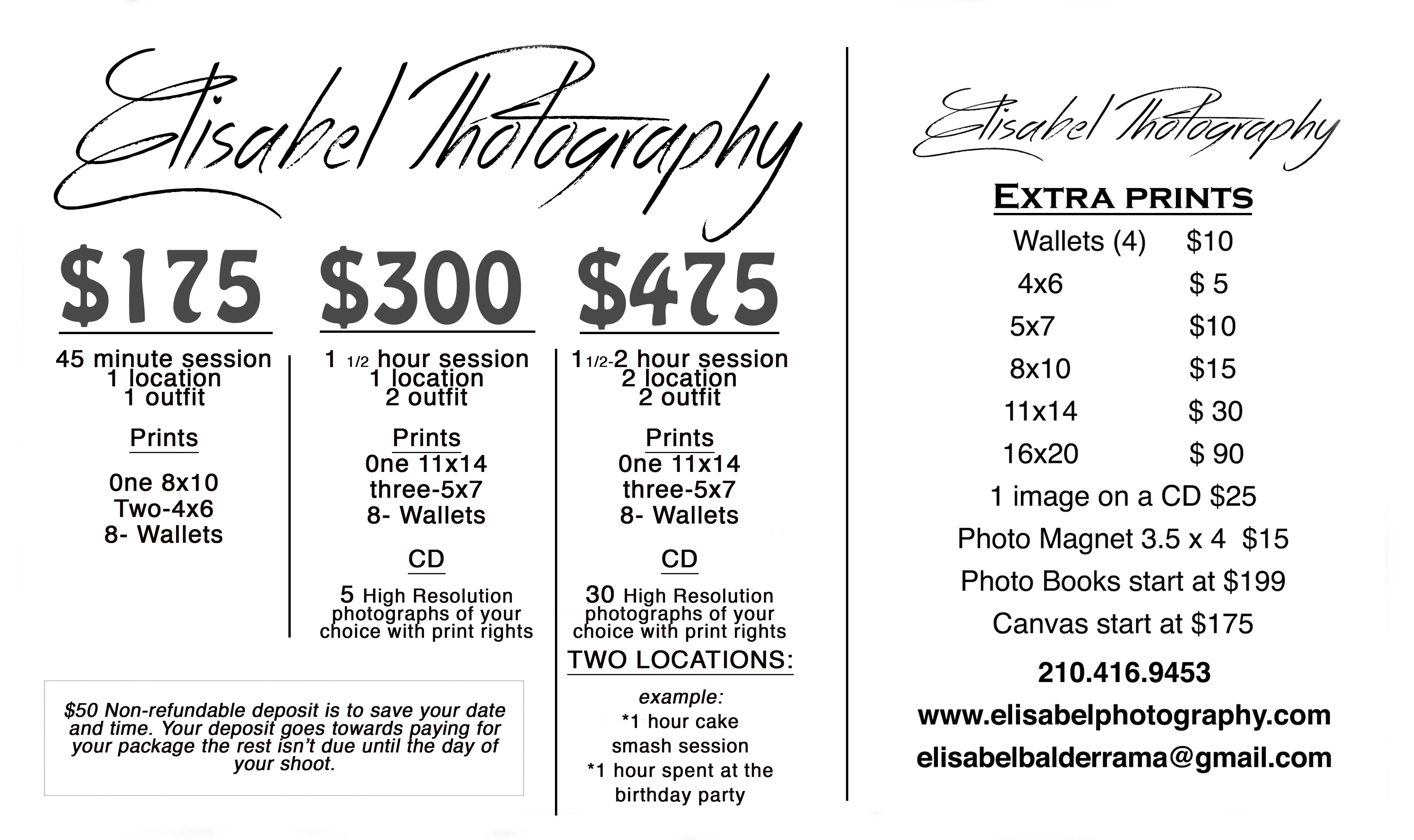 prices packages and promotions elisabel photography. Black Bedroom Furniture Sets. Home Design Ideas